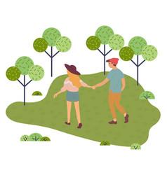 Young teenage couple walks holding hands vector