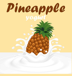 a splash of pineapple fruit yogurt vector image vector image