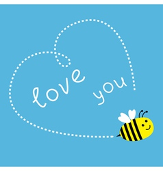 Flying bee Dash heart in the sky Card vector image