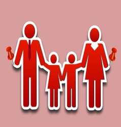 Happy family collage pin vector image