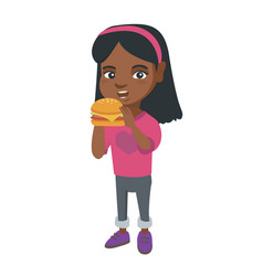 little african-american girl eating a hamburger vector image vector image