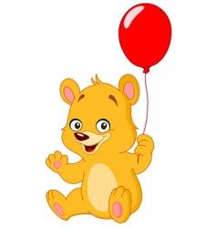 teddy bear holding balloon vector image vector image
