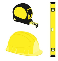 Yellow level construction building helmet and tape vector image vector image