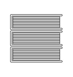 Horizontal stack of books black color icon vector