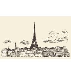 Paris skyline France eiffel sketch drawn vector image vector image