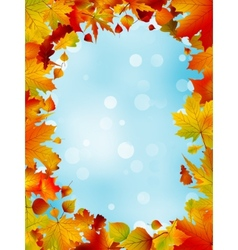 Red and yellow leaves against blue sky EPS 8 vector image