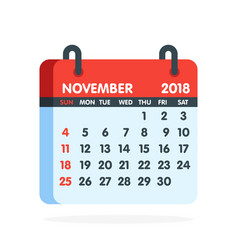 calendar for 2018 year full month of november icon vector image