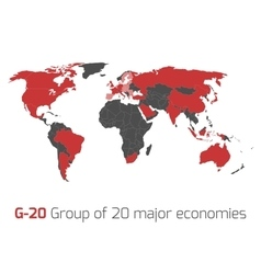 G-20 member states world map vector image