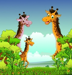 giraffe cartoon with forest background vector image vector image