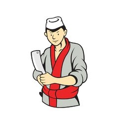 Japanese Butcher Holding Meat Cleaver Knife vector image