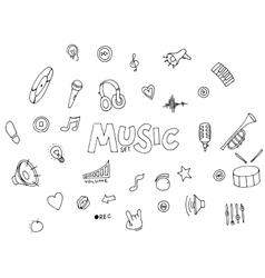 Music - doodles collection vector image vector image