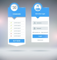 Pricing and Login vector image
