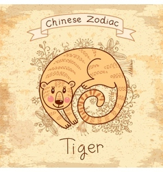 Vintage card with Chinese zodiac Tiger vector image