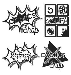 Vintage comics shop emblems vector image