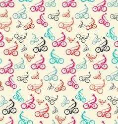 Biker - Bicyclist Retro Seamless Background - vector image