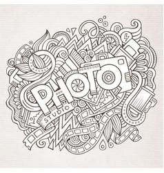 cartoon cute doodles hand drawn photo inscription vector image