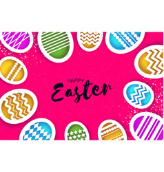 Happy easter greetings card colorful eggs in vector