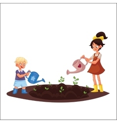 Kids watering plants in the garden vector image