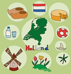 set of national profile of the holland vector image vector image
