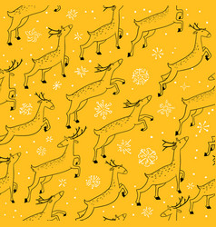 winter seamless pattern with cute jumping deers vector image vector image
