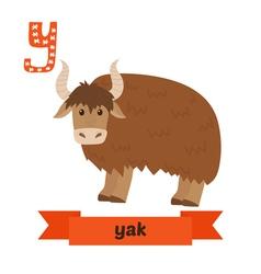 Yak Y letter Cute children animal alphabet in vector image