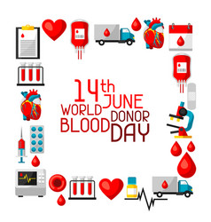 14t june world blood donor day background with vector