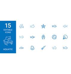 15 aquatic icons vector