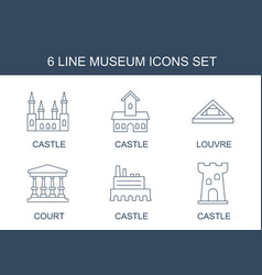 6 museum icons vector