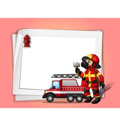 A fireman holding an ax beside his fire truck with vector