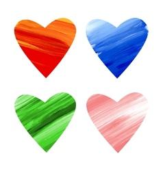 Acrylic colorful hearts vector