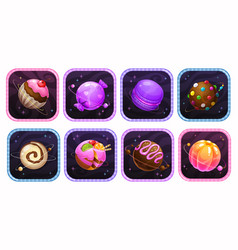 app icons with yummy sweet planets into the vector image