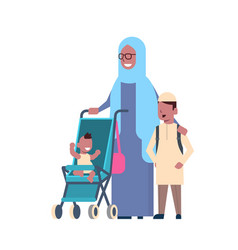 arab grandmother with baby grandchildren in vector image