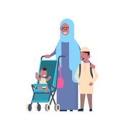 Arab grandmother with baby grandchildren vector