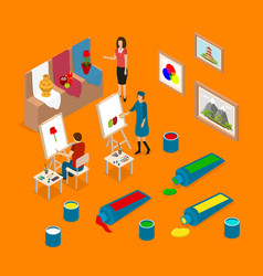 artist palette workplace interior parts concept 3d vector image