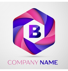 B Letter colorful logo in the hexagonal on grey vector