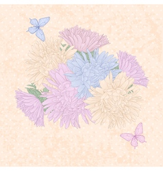 Background with bouquet flowers and butterflies vector