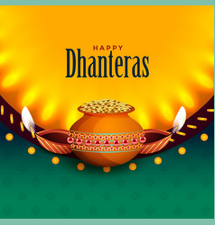 Beautiful happy dhanteras background with light vector