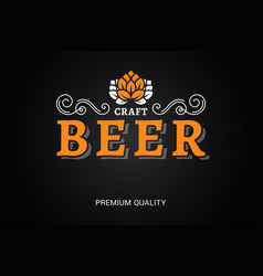 Beer logo with vintage floral ornates on black vector