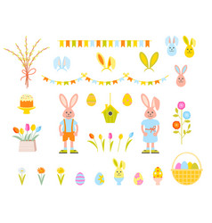 big collection happy easter objects vector image