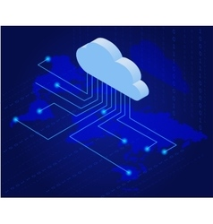 Bitcoin in cloud Bitcoin mining isometric flat vector image