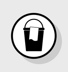 Bucket and a rag sign flat black icon in vector