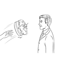 Cake is thrown in face coloring book vector