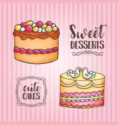 cakes pastry and bakery background vector image