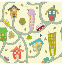 Cartoon city Seamless pattern vector