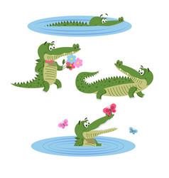 Cartoon crocodiles on nature isolated vector