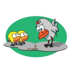 Cartoon hen with her chicks vector