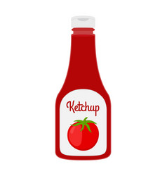 cartoon ketchup bottle red tomato sauce vector image