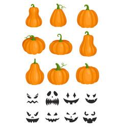 Cartoon orange pumpkin jack lantern angry carved vector