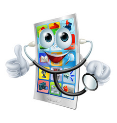 Cell phone man holding a stethoscope vector