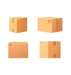 closed parcel icons from side back and front view vector image